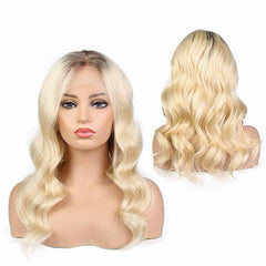 LETMESHINE FRONTAL LACE WIG BODY WAVE #1B/613 COLOR GLUELESS 100% HUMAN HAIR WIG LACE FRONT 13*4 OR 13*6 - LetMeShine Hair
