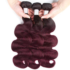 LETMESHINE #1B/99J COLOR BODY WAVE 3 BUNDLES & 4*4 CLOSURE HUMAN HAIR WEAVE REMY HAIR 3 BUNDLES - LetMeShine Hair