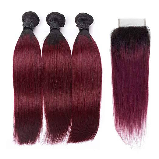 LETMESHINE #1B/99J COLOR STRAIGHT 3 BUNDLES & 4*4 CLOSURE HUMAN HAIR WEAVE REMY HAIR 3 BUNDLES - LetMeShine Hair