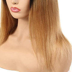 LETMESHINE FULL LACE WIG STRAIGHT #1B/27 COLOR GLUELESS 100% HUMAN HAIR WIG - LetMeShine Hair
