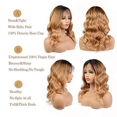 LETMESHINE FULL LACE WIG BODY WAVE #1B/27 COLOR GLUELESS 100% HUMAN HAIR WIG - LetMeShine Hair