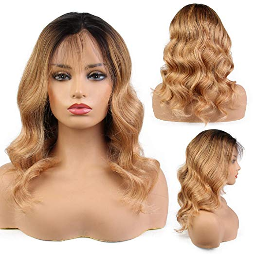 LETMESHINE FRONTAL LACE WIG BODY WAVE #1B/27 COLOR GLUELESS 100% HUMAN HAIR WIG LACE FRONT 13*4 OR 13*6 - LetMeShine Hair