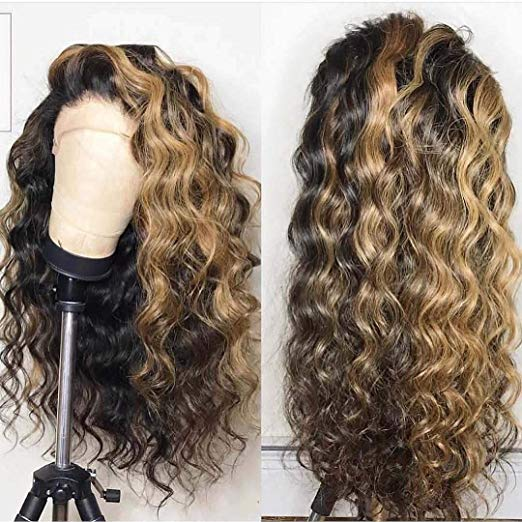 LETMESHINE FRONTAL LACE WIG CURLY #1B/27 COLOR GLUELESS 100% HUMAN HAIR WIG LACE FRONT 13*4 OR 13*6 - LetMeShine Hair