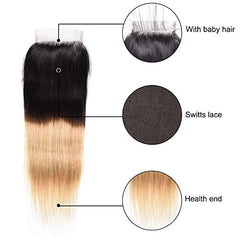 LETMESHINE #1B/27 Color Straight 4*4 Top Lace Closure Three Part Middle Part And Free Part Lace Closure 100% Virgin Human Hair - LetMeShine Hair