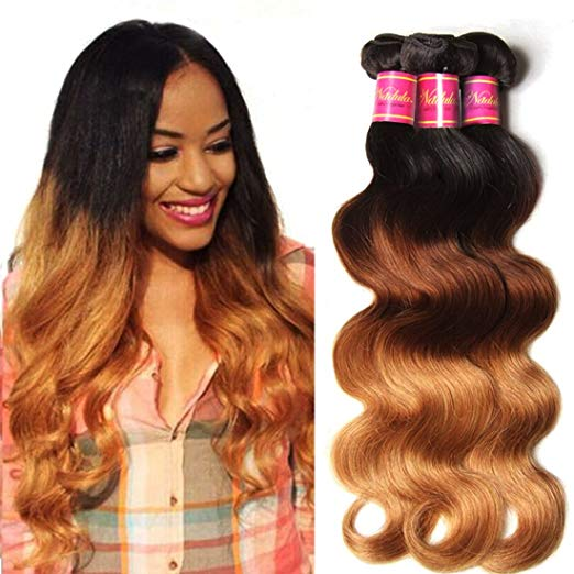 LETMESHINE 1B/4/27 COLOR BODY WAVE HUMAN HAIR WEAVE REMY HAIR - LetMeShine Hair