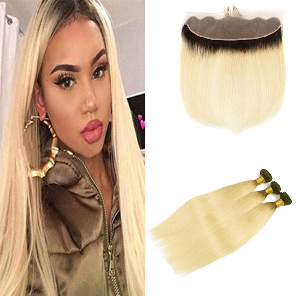 LETMESHINE #1B/613 BLEACH BLOND OMBRE COLOR STRAIGHT 3 BUNDLES WITH 13*4 FRONTAL LACE CLOSURE HUMAN HAIR WEAVE - LetMeShine Hair