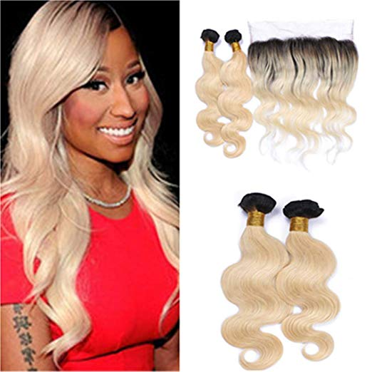 1B/613 Bleach Blonde Human 4 Hair Bundles with 13*4 Frontal Closure Body Wave Unprocessed Brazilian Virgin Human Hair Sew in Extensions for Women Body Wave Hair Weave - LetMeShine Hair