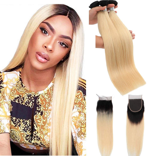 1B/613 Bleach Blonde Human 4 Hair Bundles with 4*4 Closure Straight Unprocessed Brazilian Virgin Human Hair Sew in Extensions for Women Straight Hair Weave - LetMeShine Hair