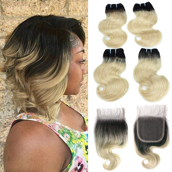 1B/613 Bleach Blonde Human 4 Hair Bundles with 4*4 Closure Body Wave Unprocessed Brazilian Virgin Human Hair Sew in Extensions for Women Body Wave Hair Weave - LetMeShine Hair