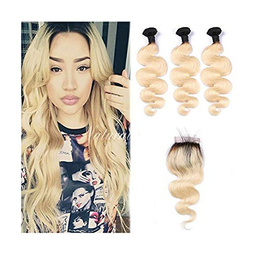 LETMESHINE #1B/613 BLEACH BLOND OMBRE COLOR BODY WAVE 3 BUNDLES WITH 4*4 LACE CLOSURE HUMAN HAIR WEAVE - LetMeShine Hair