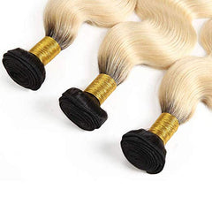 LETMESHINE #1B/613 BLEACH BLOND OMBRE COLOR BODY WAVE 3 BUNDLES WITH 13*4 FRONTAL LACE CLOSURE HUMAN HAIR WEAVE - LetMeShine Hair