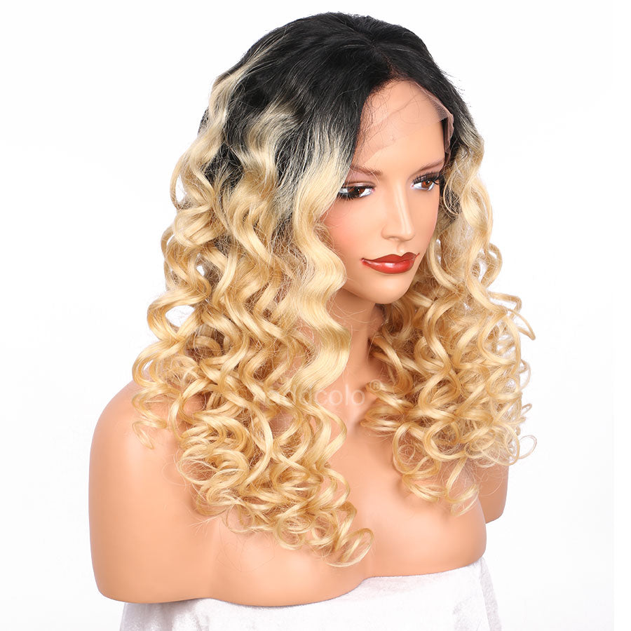 LETMESHINE FULL LACE WIG DEEP WAVE #1B/613 COLOR GLUELESS 100% HUMAN HAIR WIG - LetMeShine Hair