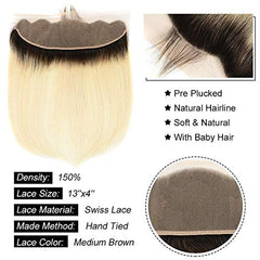 LETMESHINE #1B/613 BLEACH BLOND OMBRE COLOR STRAIGHT 4 BUNDLES WITH 13*4 FRONTAL LACE CLOSURE HUMAN HAIR WEAVE - LetMeShine Hair