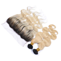 #1B/613 BLEACH BLOND OMBRE 4 BUNDLES WITH 13*4 CLOSURE BODY WAVE HUMAN HAIR WEAVE - LetMeShine Hair
