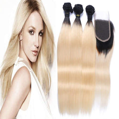 LETMESHINE #1B/613 BLEACH BLOND OMBRE COLOR STRAIGHT 3 BUNDLES WITH 4*4 LACE CLOSURE HUMAN HAIR WEAVE - LetMeShine Hair