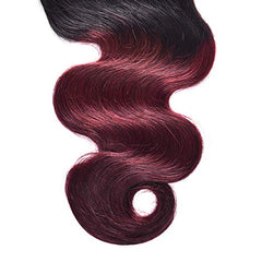 LETMESHINE #1B/99J Color Body Wave 4*4 Top Lace Closure Three Part Middle Part And Free Part Lace Closure 100% Virgin Human Hair - LetMeShine Hair