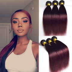 LETMESHINE #1B/99J COLOR STRAIGHT HUMAN HAIR WEAVE REMY HAIR - LetMeShine Hair