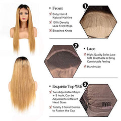 LETMESHINE FRONTAL LACE WIG STRAIGHT #1b/27 COLOR GLUELESS 100% HUMAN HAIR WIG LACE FRONT 13*4 OR 13*6 - LetMeShine Hair