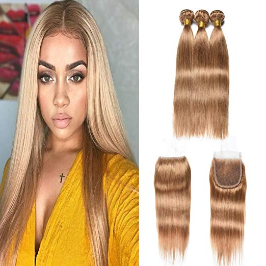 LETMESHINE #27 COLOR HONEY BLOND STRAIGHT 3 BUNDLES & 4*4 CLOSURE HUMAN HAIR WEAVE REMY HAIR - LetMeShine Hair