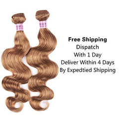 LETMESHINE #27 COLOR HONEY BLOND BODY WAVE 3 BUNDLES & 4*4 CLOSURE HUMAN HAIR WEAVE REMY HAIR 3 Bundles - LetMeShine Hair