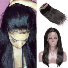 LETMESHINE 360 Lace Frontal Natural Color Straight 100% Virgin Human Hair - LetMeShine Hair