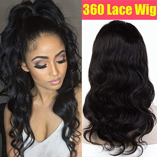 LETMESHINE 360 WIG body wave  #1B NATURAL COLOR GLUELESS 100% HUMAN HAIR WIG - LetMeShine Hair