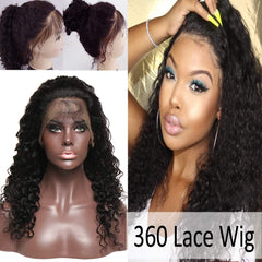 LETMESHINE Glueless Brazilian Virgin Hair Deep Wave 360 Wig Natural Black Color Human Hair Wig - LetMeShine Hair