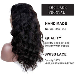 LETMESHINE 360 Lace Frontal Natural Color Body Wave 100% Virgin Human Hair - LetMeShine Hair