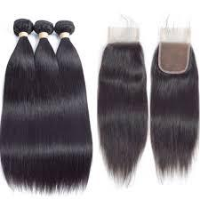 LETMESHINE Straight Virgin Hair Weave 3 Pieces With Lace Closure Brazilian Best Virgin Human Hair