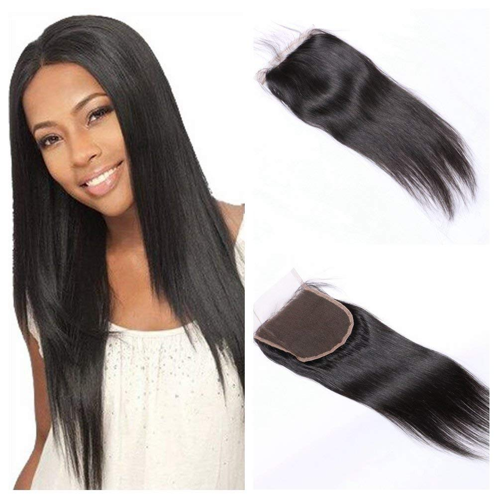 LETMESHINE STRAIGHT 4*4 OR 5*5 LACE CLOSURE THREE PART MIDDLE PART FREE PART 100% VIRGIN HUMAN HAIR NATURAL COLOR - LetMeShine Hair
