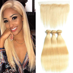#613 BLEACH BLOND 3 BUNDLES WITH 13*4 CLOSURE STRAIGHT HUMAN HAIR WEAVE - LetMeShine Hair