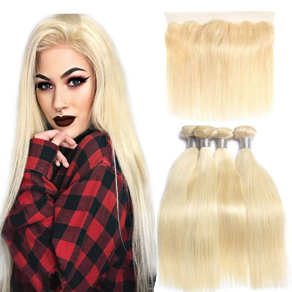 #613 BLEACH BLOND 4 BUNDLES WITH 13*4 CLOSURE STRAIGHT HUMAN HAIR WEAVE - LetMeShine Hair