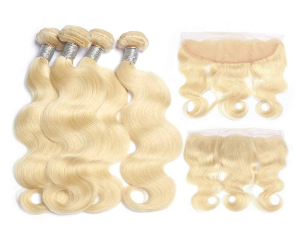 #613 BLEACH BLOND 4 BUNDLES WITH 13*4 FRONTAL CLOSURE BODY WAVE HUMAN HAIR WEAVE - LetMeShine Hair