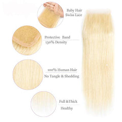 #613 BLEACH BLOND 4 BUNDLES WITH 4*4 CLOSURE STRAIGHT HUMAN HAIR WEAVE - LetMeShine Hair