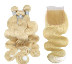 #613 BLEACH BLOND 3 BUNDLES WITH 4*4 CLOSURE BODY WAVE HUMAN HAIR WEAVE - LetMeShine Hair