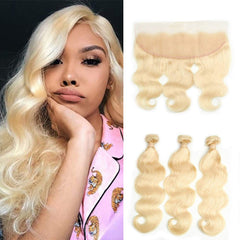 #613 BLEACH BLOND 3 BUNDLES WITH 13*4 CLOSURE BODY WAVE HUMAN HAIR WEAVE - LetMeShine Hair