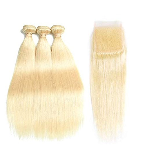 #613 Bleach Blond 3 Bundles with 4*4 Closure  STRAIGHT Human Hair Weave - LetMeShine Hair
