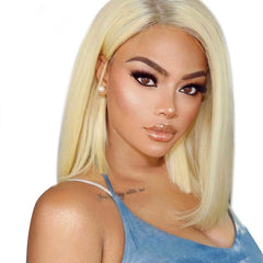 LETMESHINE BOB WIG FRONTAL LACE WIG STRAIGHT #613 COLOR or #1B/613 GLUELESS 100% HUMAN HAIR WIG - LetMeShine Hair