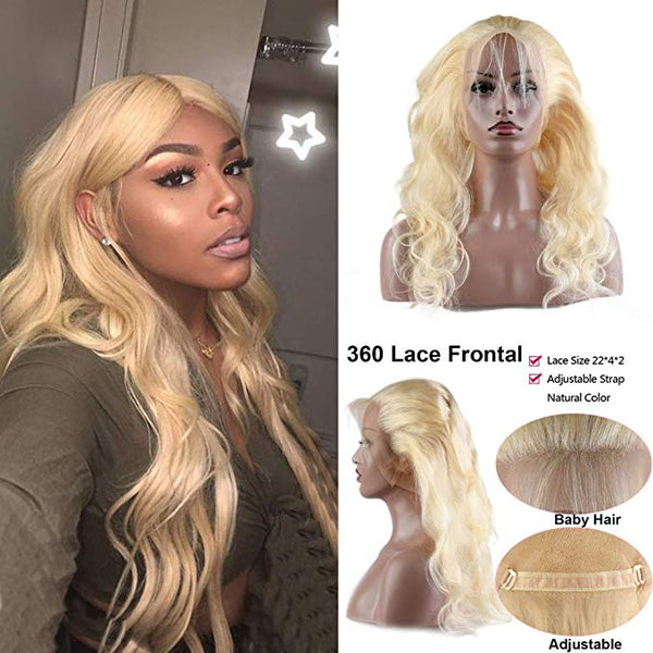 LETMESHINE 360 Lace Frontal #613 Color Body Wave 100% Virgin Human Hair - LetMeShine Hair