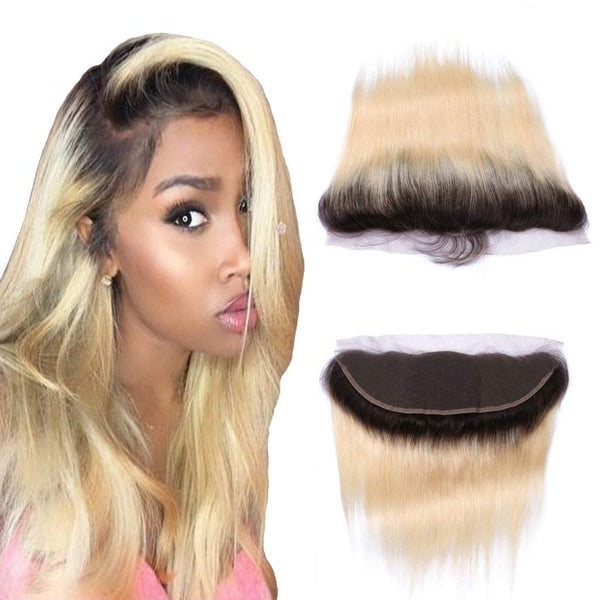 LETMESHINE #1B/613 COLOR STRAIGHT 13*4 OR 13*6 LACE FRONTAL THREE PART MIDDLE PART AND FREE PART 100% VIRGIN HUMAN HAIR - LetMeShine Hair