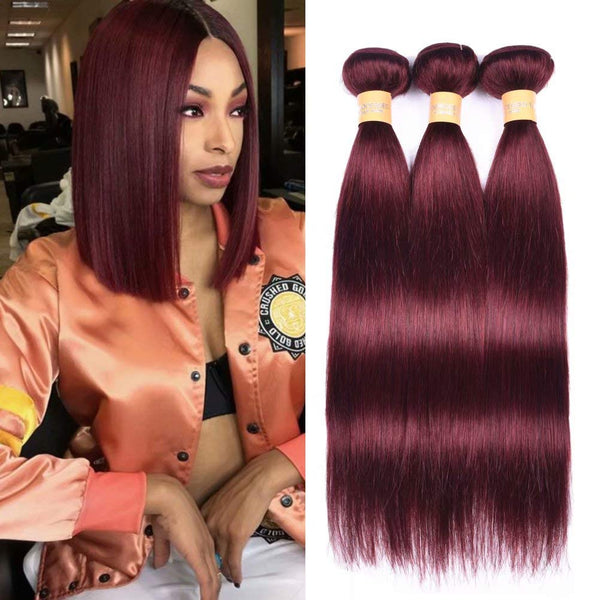 LETMESHINE #99J COLOR STAIGHT HUMAN HAIR WEAVE REMY HAIR - LetMeShine Hair