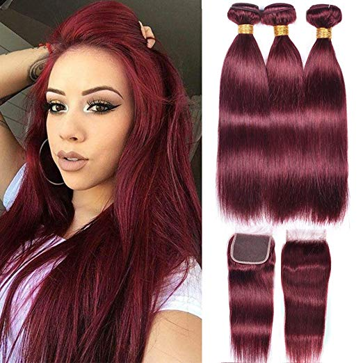 LETMESHINE #99J COLOR  STRAIGHT 3 BUNDLES & 4*4 CLOSURE HUMAN HAIR WEAVE REMY HAIR 3 Bundles - LetMeShine Hair