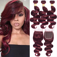 LETMESHINE #99J COLOR  BODY WAVE 3 BUNDLES & 4*4 CLOSURE HUMAN HAIR WEAVE REMY HAIR 3 Bundles - LetMeShine Hair