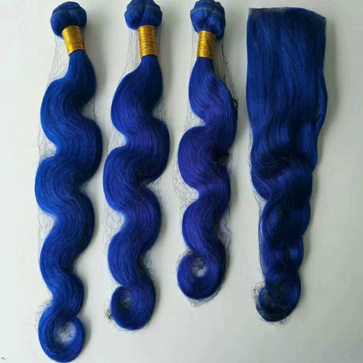 LETMESHINE Customized  Colored DEEP BLUE Hair Weave Bundles WITH 4*4 LACE CLOSURE OR 13*4 FRONTAL LACE CLOSURE