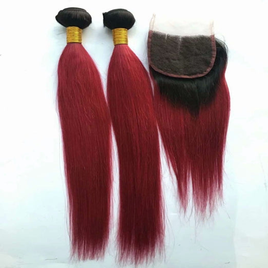 LETMESHINE Customized  Colored DARK RED Hair Weave Bundles WITH 4*4 LACE CLOSURE OR 13*4 FRONTAL LACE CLOSURE