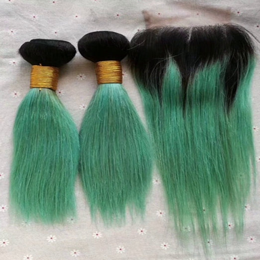 LETMESHINE Customized  Colored Medium Green Hair Weave Bundles WITH 4*4 LACE CLOSURE OR 13*4 FRONTAL LACE CLOSURE - LetMeShine Hair