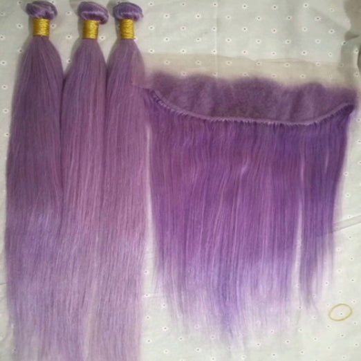 LETMESHINE Customized  Colored Light purple Hair Weave Bundles WITH 4*4 LACE CLOSURE OR 13*4 FRONTAL LACE CLOSURE