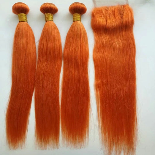 LETMESHINE Customized  Colored Dark Orange Hair Weave Bundles WITH 4*4 LACE CLOSURE OR 13*4 FRONTAL LACE CLOSURE