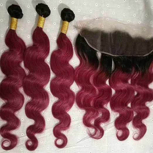 LETMESHINE Customized  Colored WINE RED Hair Weave Bundles WITH 4*4 LACE CLOSURE OR 13*4 FRONTAL LACE CLOSURE