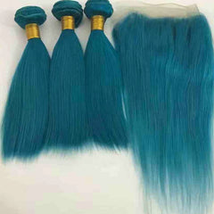 LETMESHINE Customized  Colored Hair Light Blue Weave Bundles WITH 4*4 LACE CLOSURE OR 13*4 FRONTAL LACE CLOSURE - LetMeShine Hair